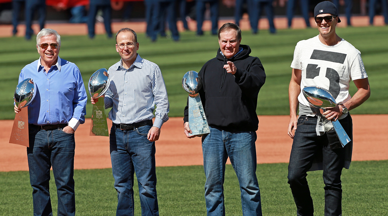 From l. to r., Robert Kraft, Jonathan Kraft, Bill Belichick and Tom Brady.