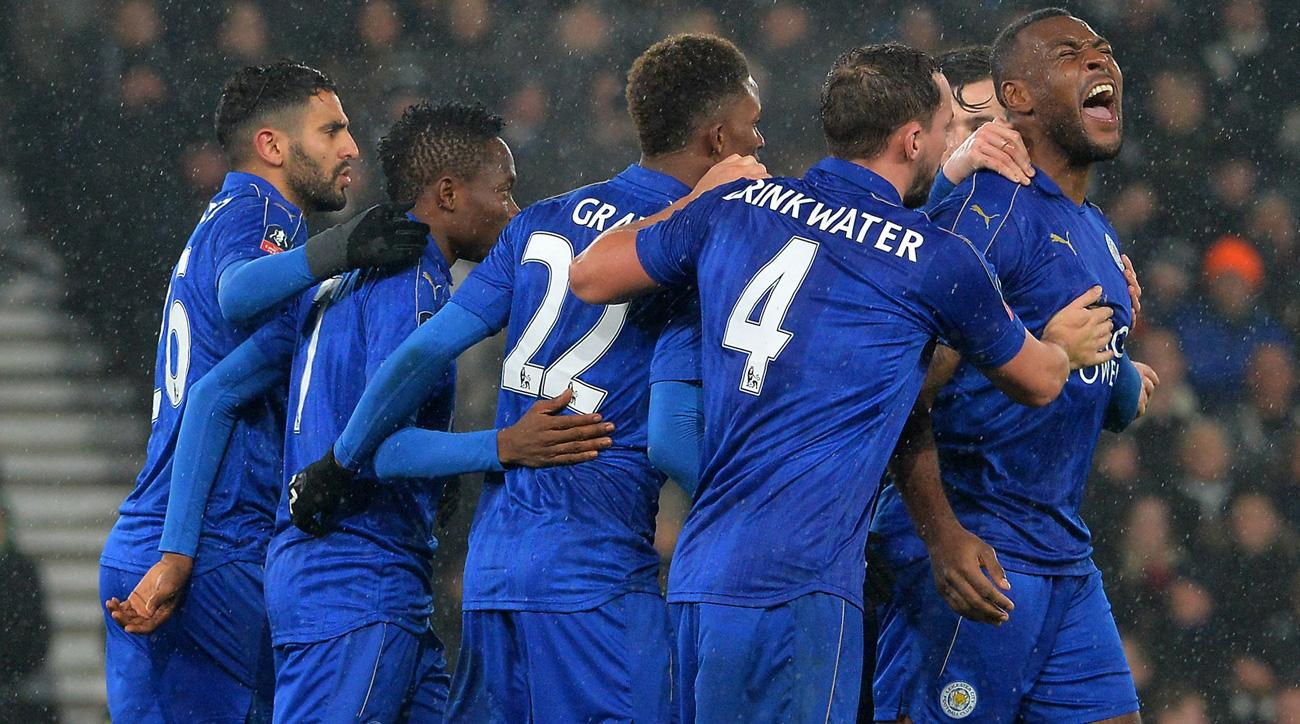 Wes Morgan scores a key goal for Leicester in the FA Cup