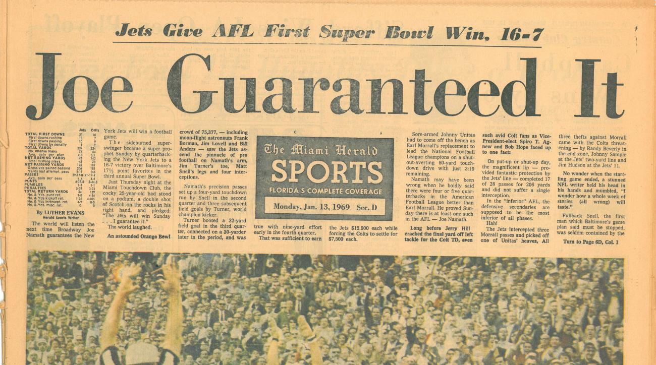Joe Namath famously guaranteed his Jets would beat the Baltimore Colts in Super Bowl III.