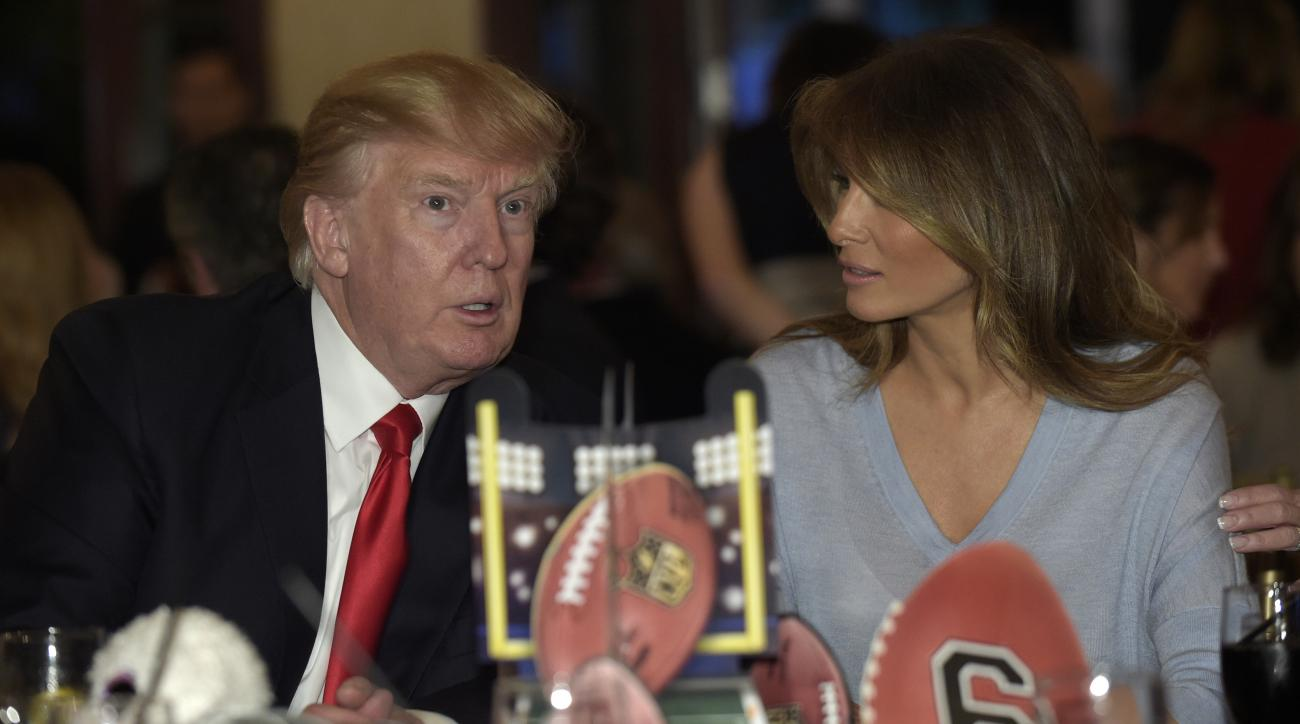 Donald Trump leaves Super Bowl party early