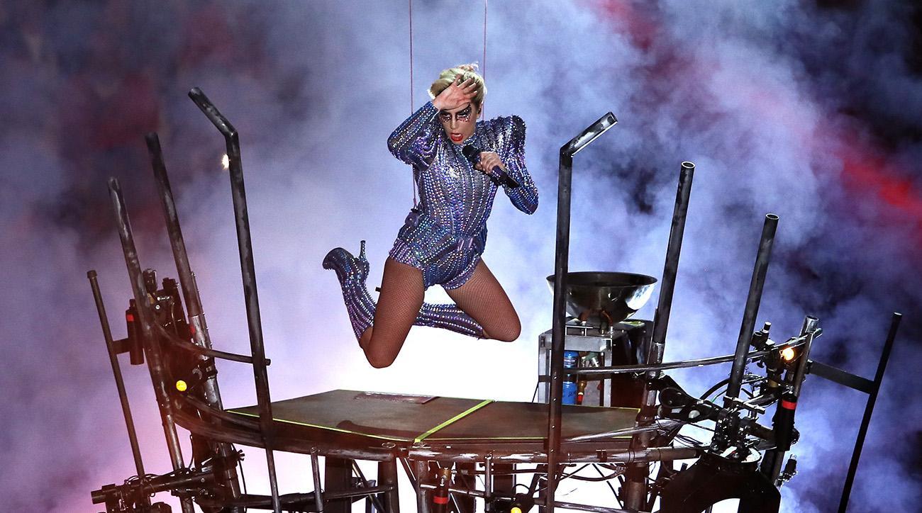 Lady Gaga entered Super Bowl LI halftime through the NRG Stadium roof.