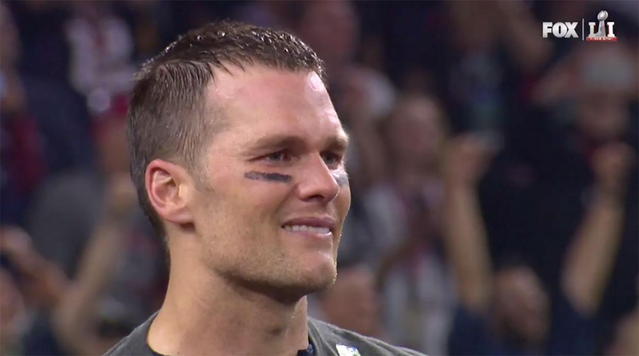 tom brady crying super bowl li trophy