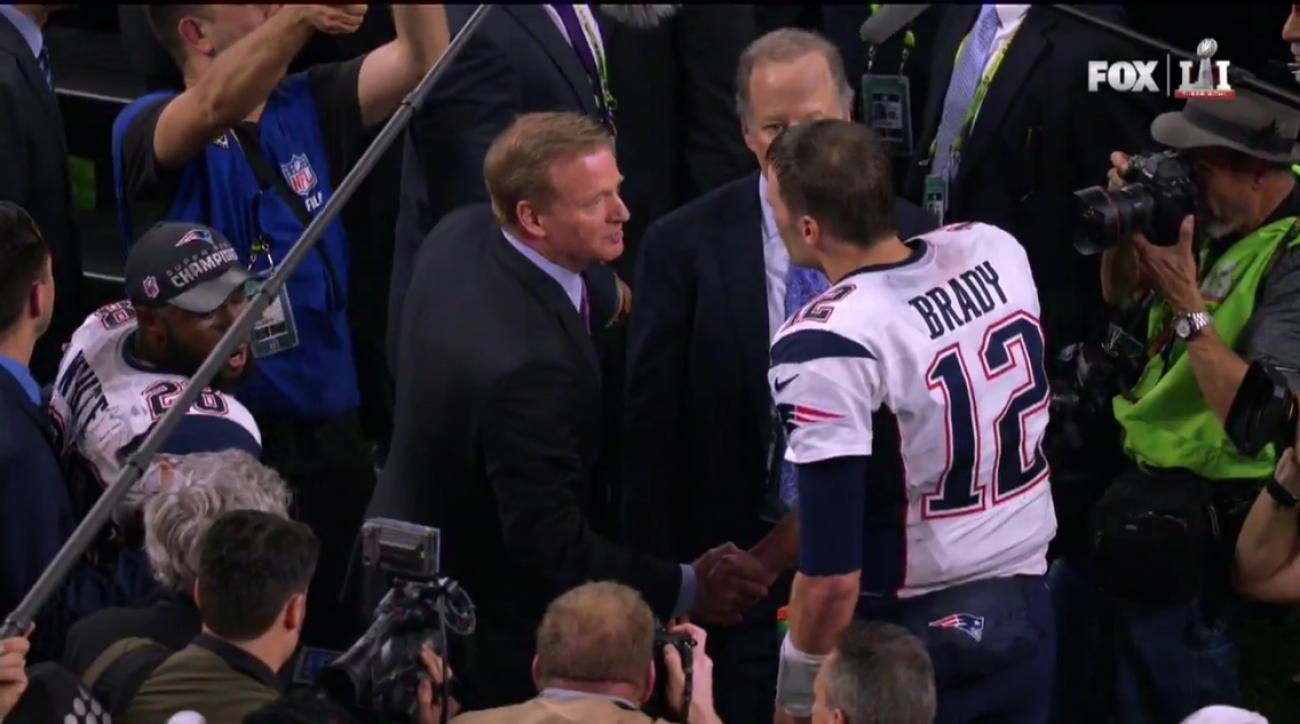 Roger Goodell hands Super Bowl trophy to Tom Brady VIDEO