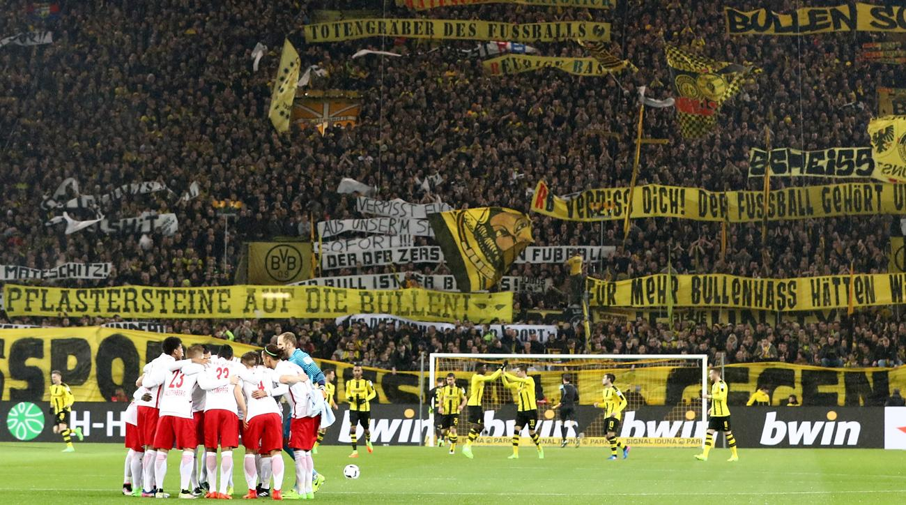 Dortmund fans had pointed messages for RB Leipzig