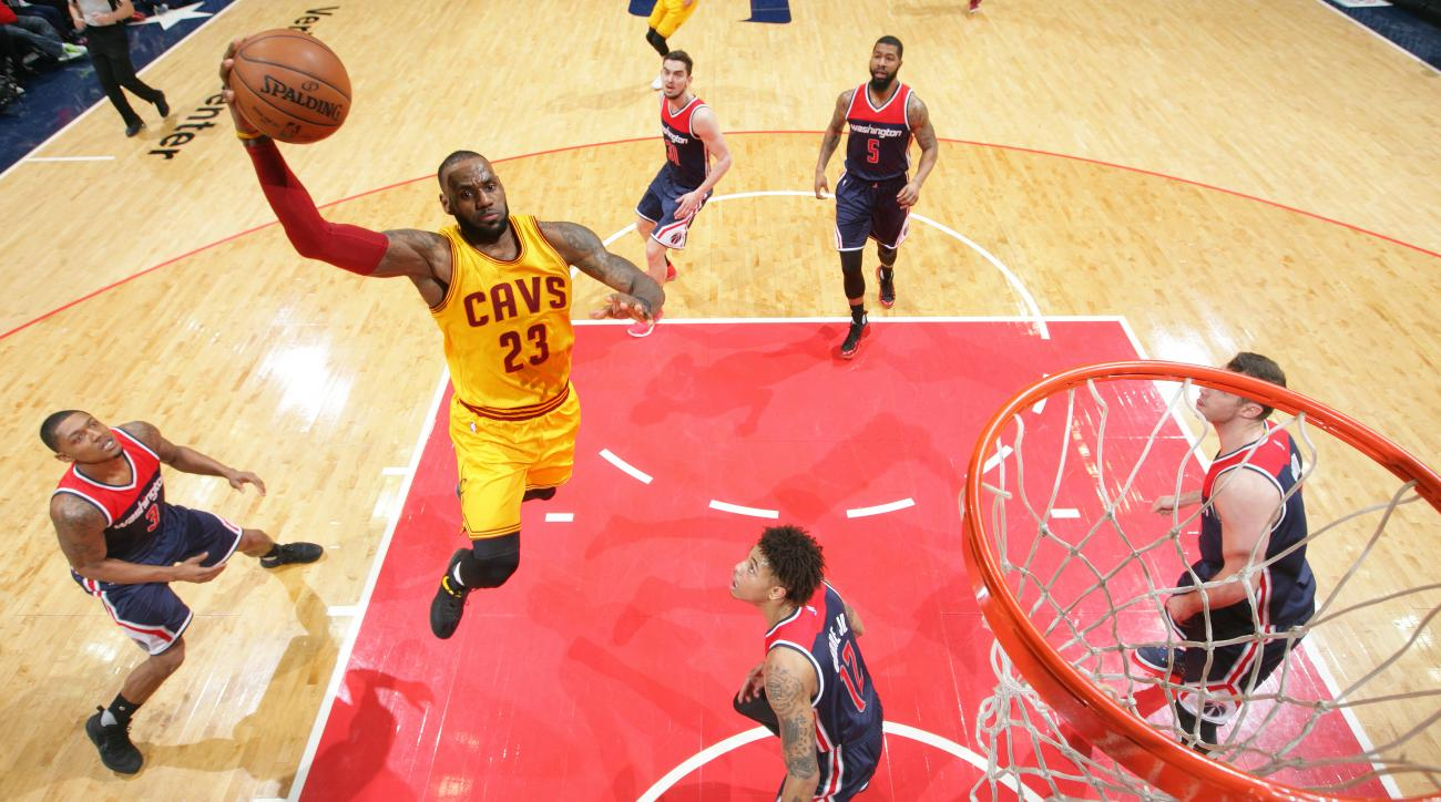 LeBron James three-pointer Cavaliers-Wizards overtime