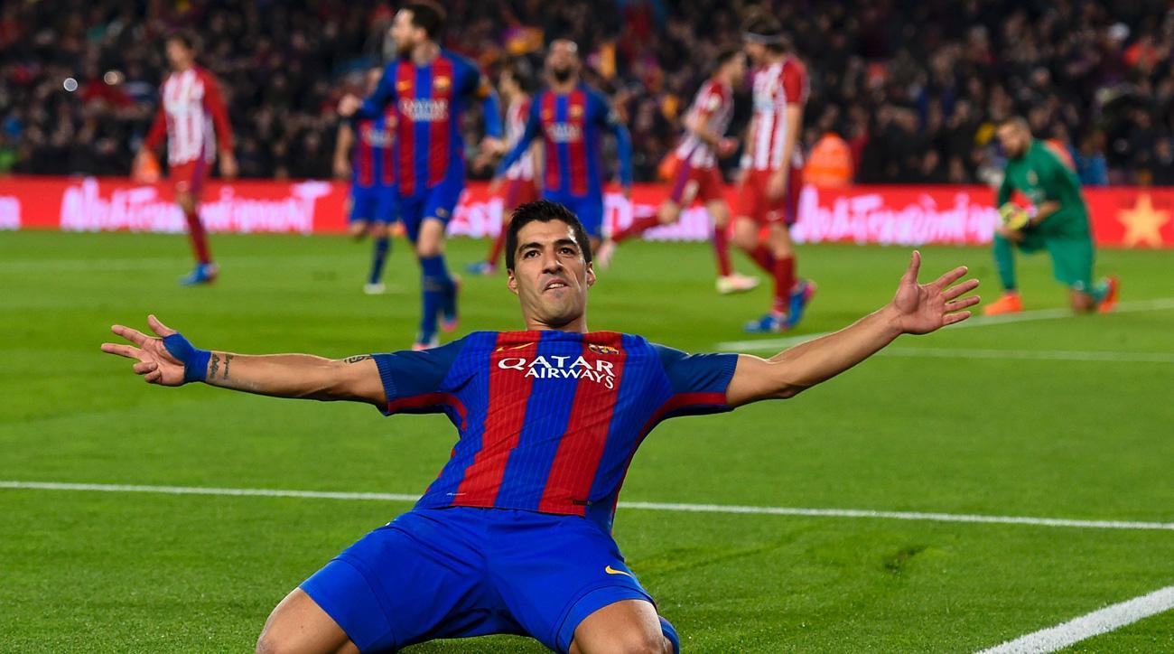 Luis Suarez scores for Barcelona vs Atletico Madrid