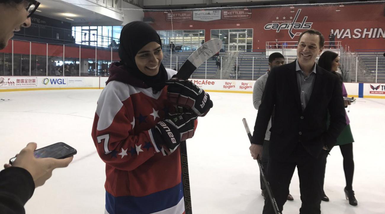 Fatima Al Ali practices with Washington Capitals (video)