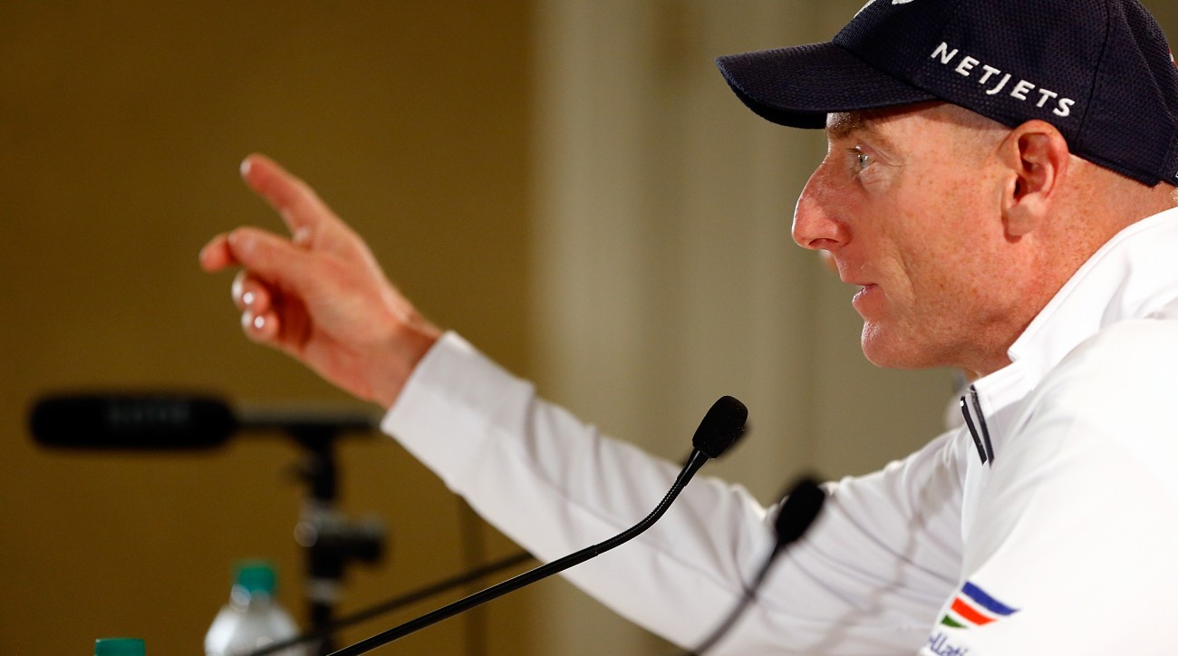 Jim Furyk speaks to the media at Pebble Beach on Wednesday.