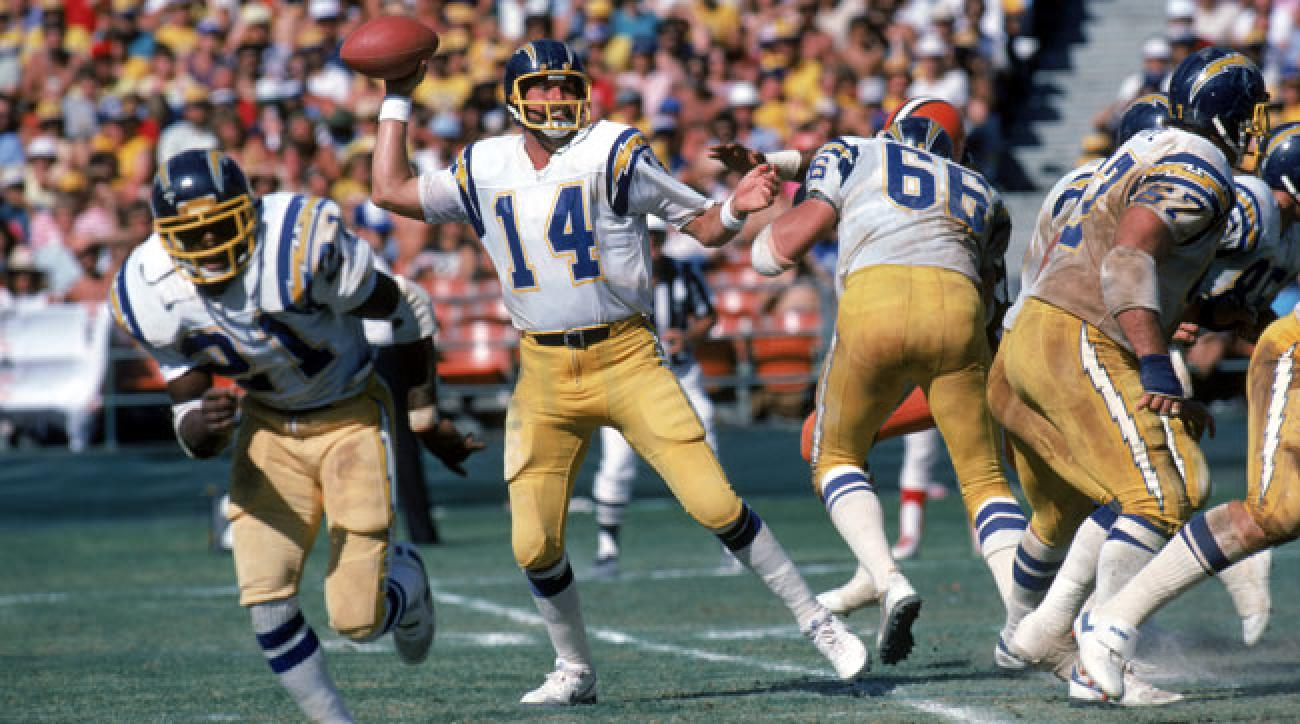Dan Fouts drops back to pass in 1983.