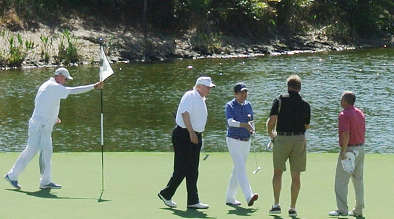 President Trump, Prime Minister Abe and Ernie Els played a round together on Saturday.