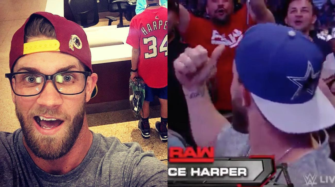 Nationals' Bryce Harper wears Cowboys hat at Raw