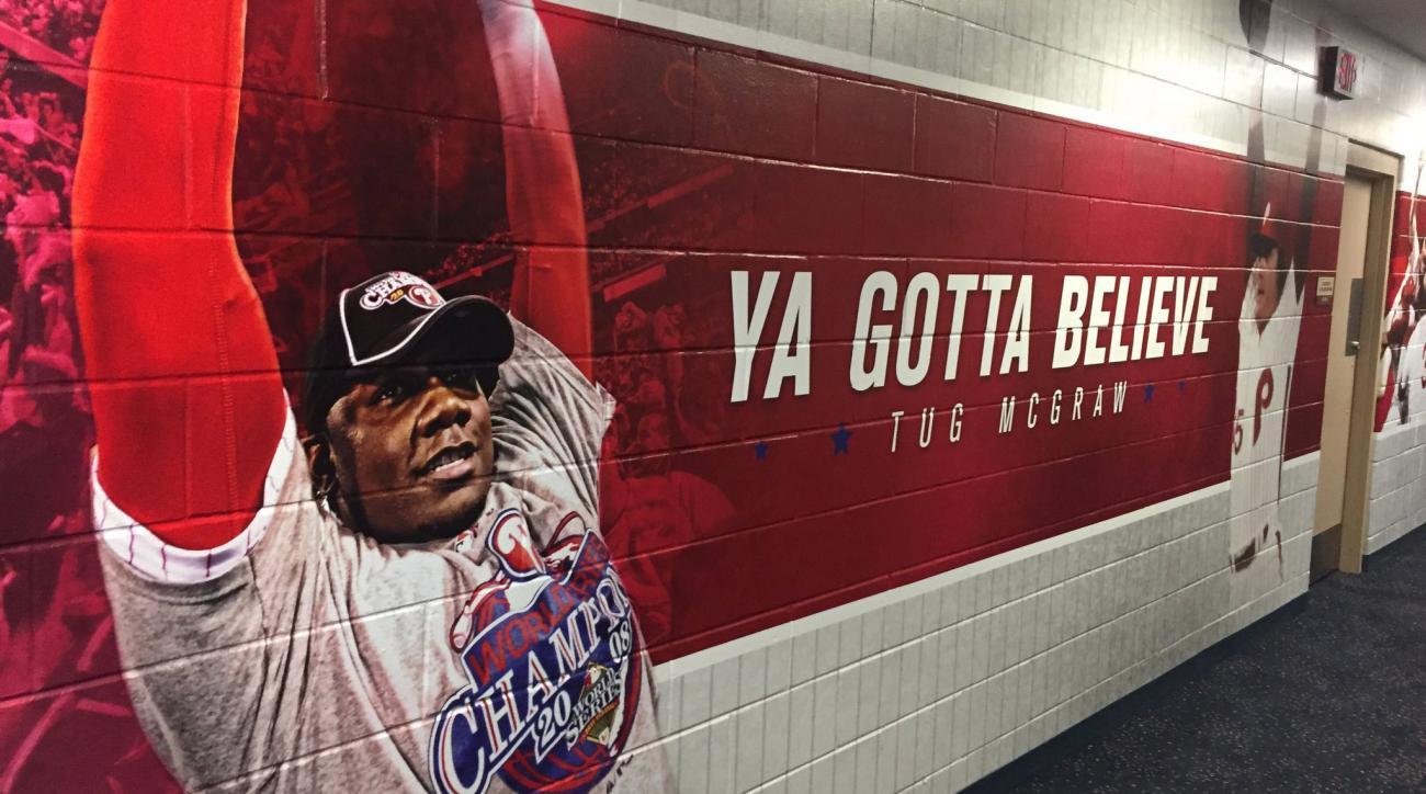 Phillies paint Mets' Tug McGraw saying on wall