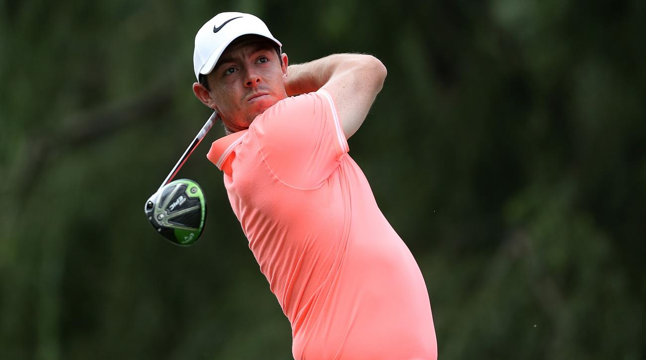 Rory McIlroy hits his tee shot on the 16th hole during day four of the BMW South African Open Championship