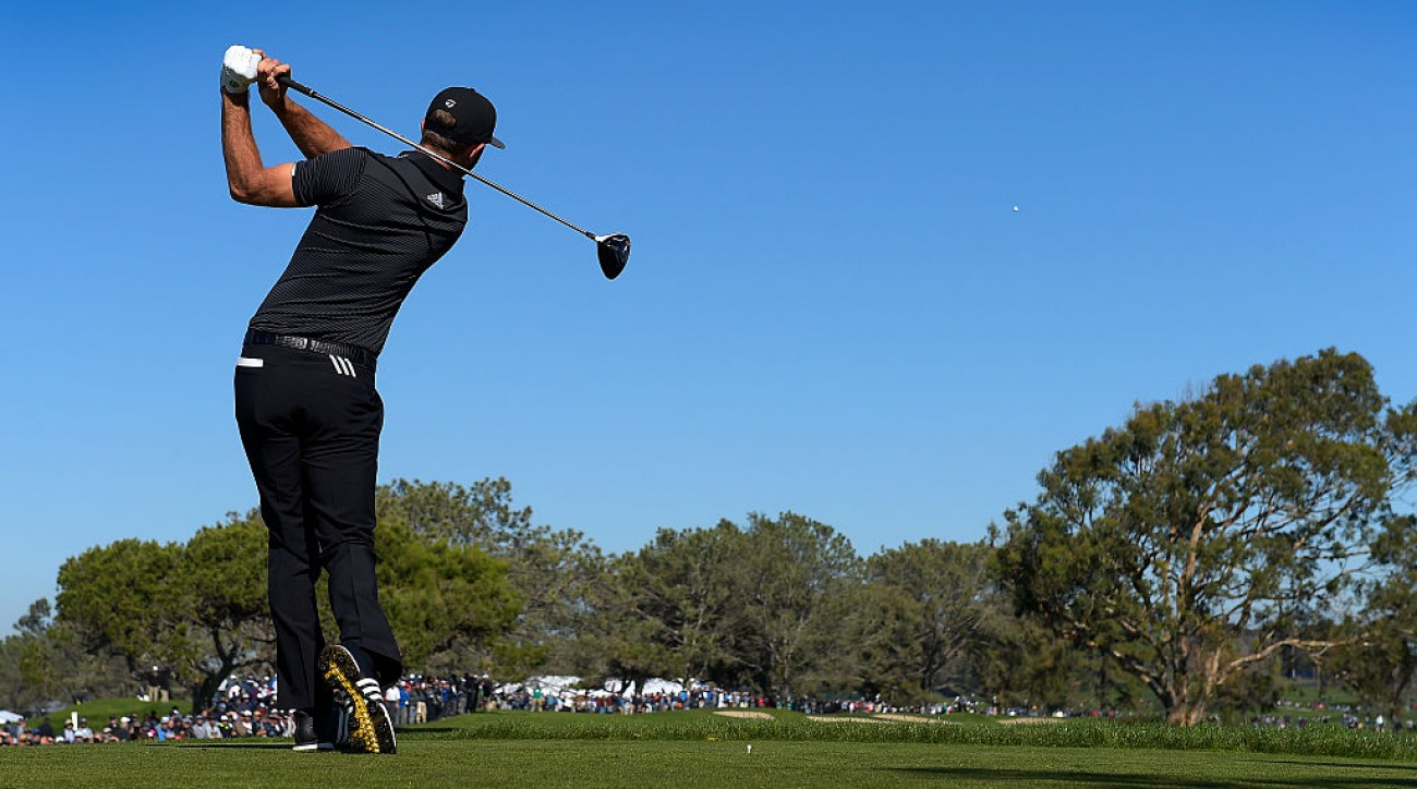 Dustin Johnson hits a drive on the sixth hole during the first round of the Farmers Insurance Open at Torrey Pines. Johnson is one of the longest hitters on the PGA Tour.