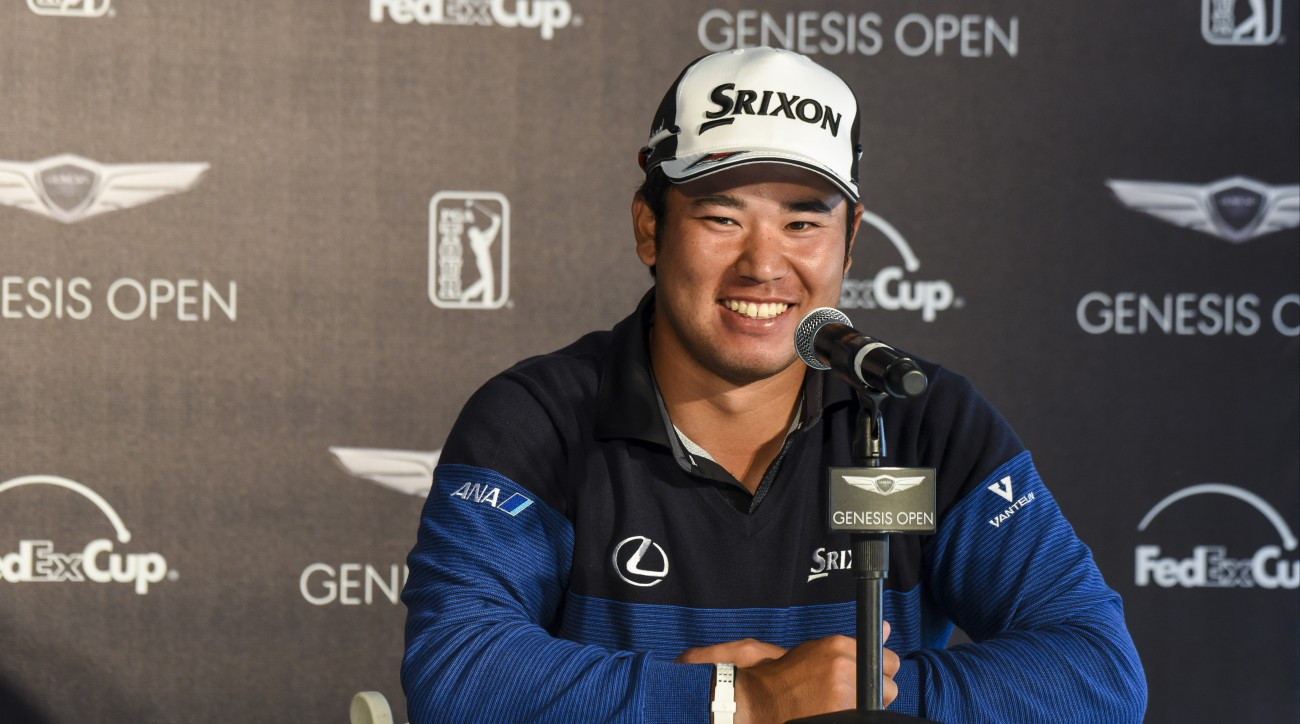Hideki Matsuyama speaks to the media Tuesday at Riviera.