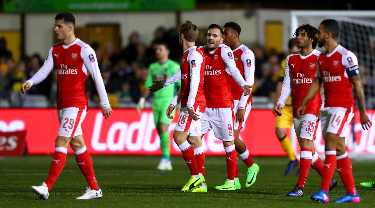 Lucas Perez scores for Arsenal at Sutton United in the FA Cup