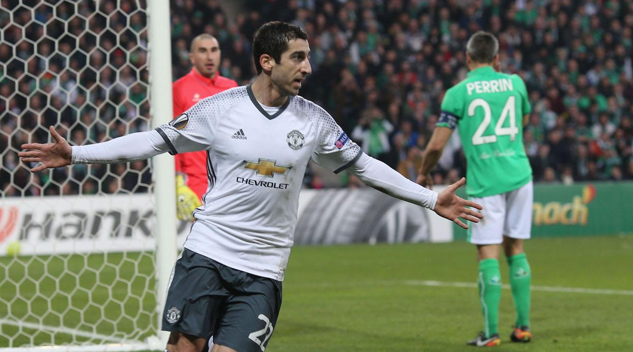 Henrikh Mkhitaryan scores for Manchester United in Europa League