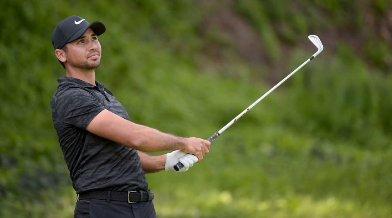 Jason Day watches his tee shot on the fifth hole during the first round of the Genesis Open.