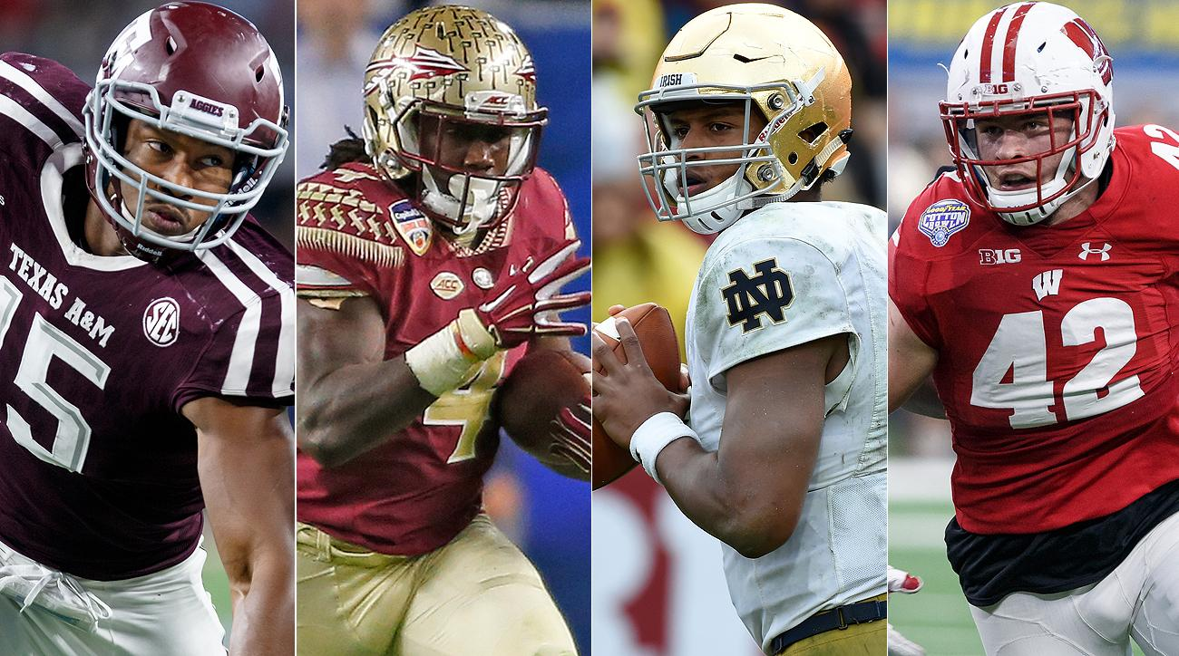 From left to right: Texas A&M's Myles Garrett, Florida State's Dalvin Cook, Notre Dame's DeShone Kizer and Wisconsin's T.J. Watt.
