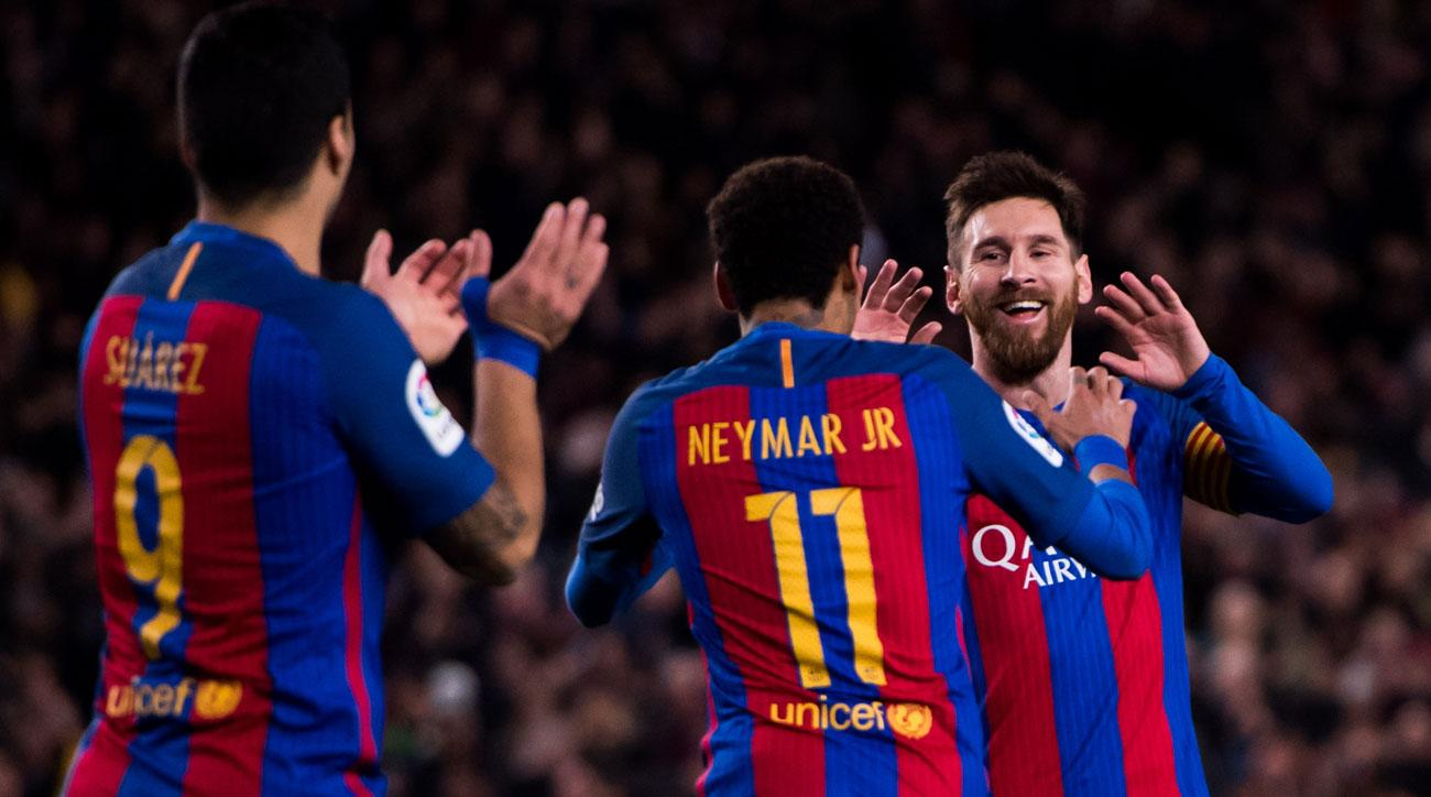 Barcelona thrashed Celta Vigo 5-0 behind Lionel Messi, Neymar and Luis Suarez
