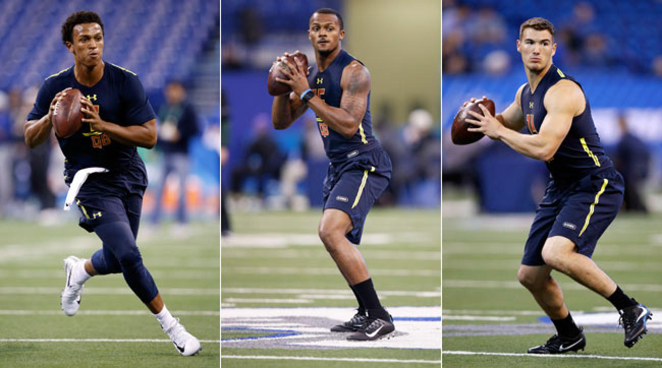 From l. to r., Notre Dame's DeShone Kizer, Clemson's Deshaun Watson, and North Carolina's Mitchell Trubisky.