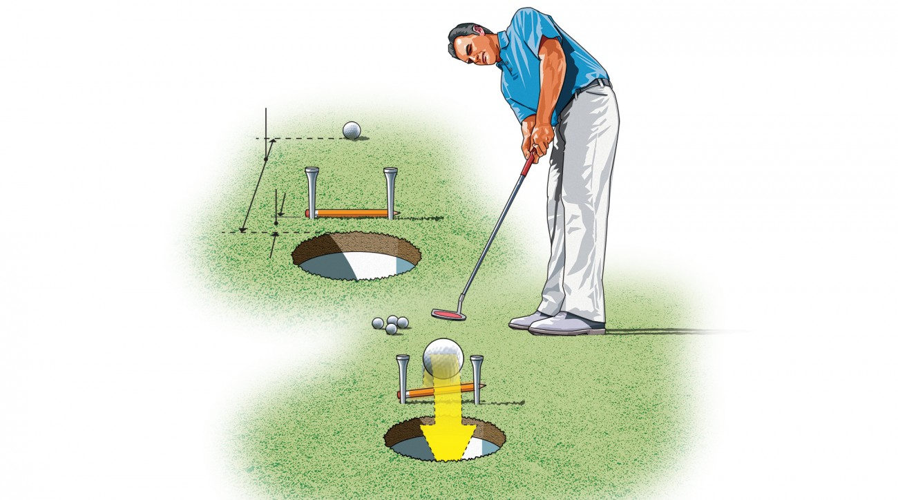 Many golfers miss their short putts because they don't hit the ball hard enough. To get the feel for the proper speed needed for these testers, create a barrier just in front of the hole using two tees and a pencil. Your goal is to hit the ball with enough speed to make it pop over the pencil and fall into the hole.