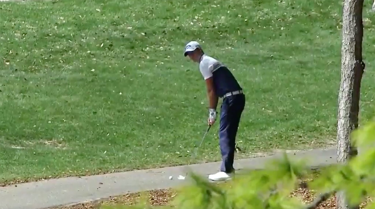 Wesley Bryan put his trick-shot skills to the test at the Valspar Championship Thursday.
