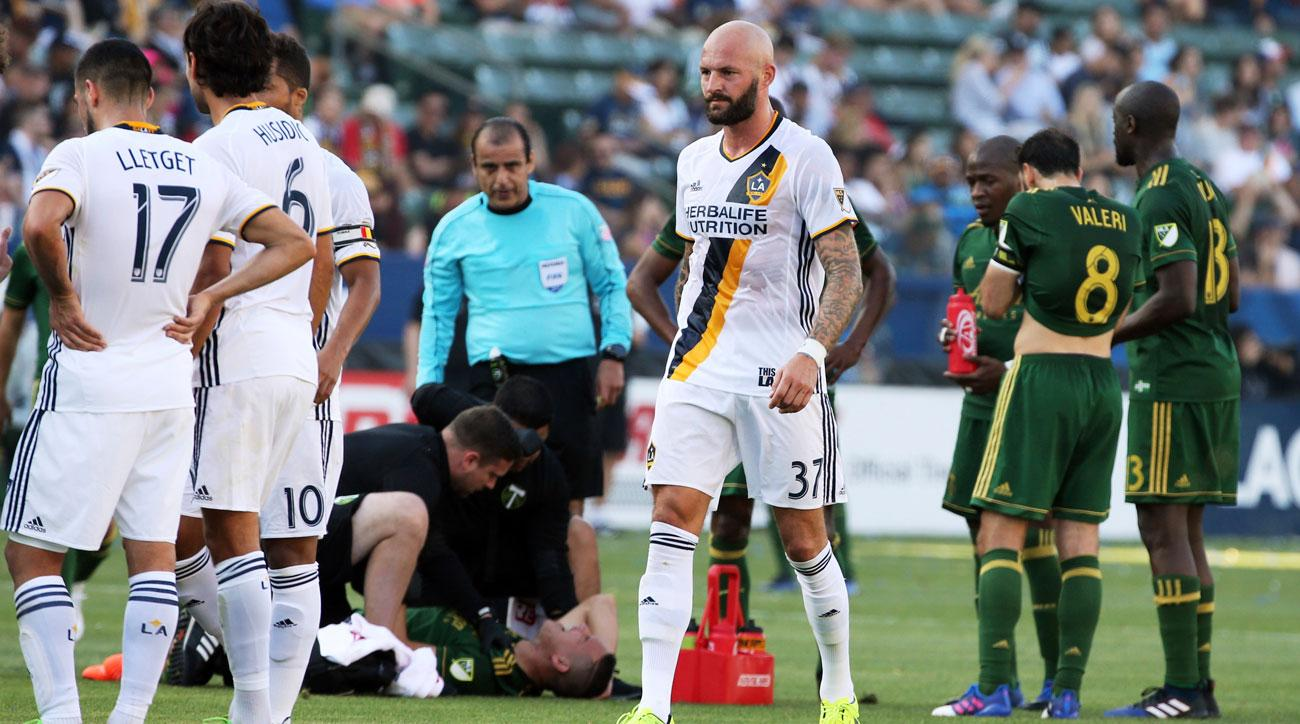 Jelle Van Damme was sent off in the LA Galaxy's loss to the Portland Timbers
