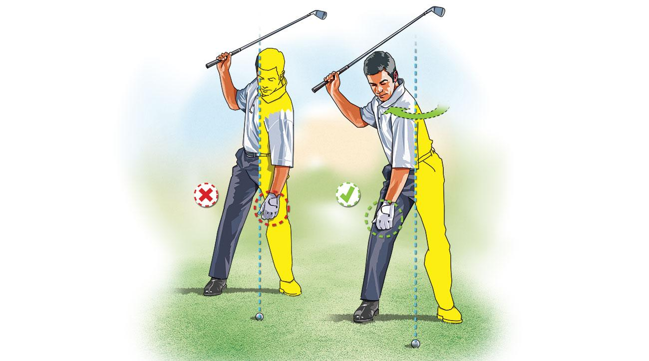 "To avoid slipping into a ""Reverse C"" position at the top of your backswing—a move that robs you of power and accuracy—make practice swings with your right arm only. At the top, check to see that your left arm hangs down over your right thigh."