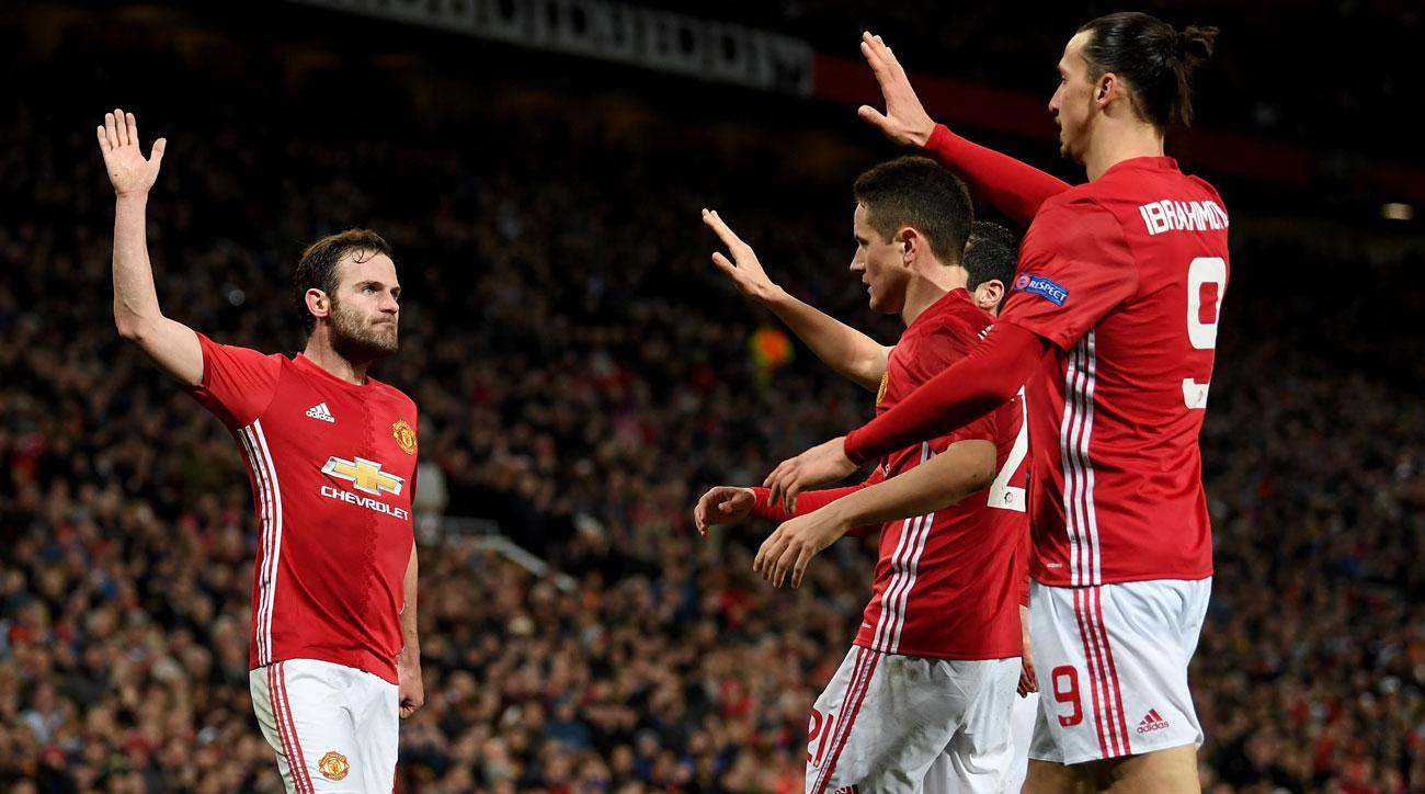 Juan Mata scores for Manchester United in Europa League