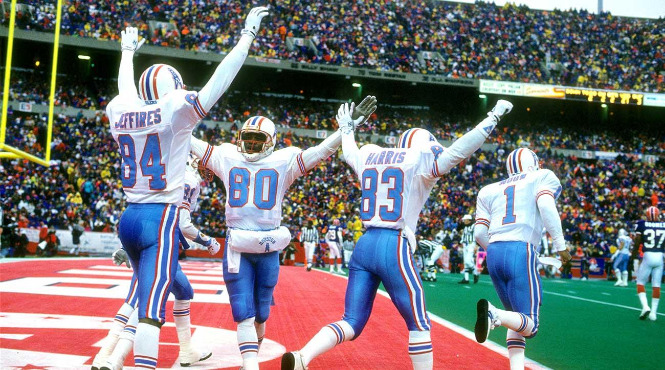 Houston Oilers players celebrate their big halftime lead against the Bills in the famous January 1993 wild-card game.