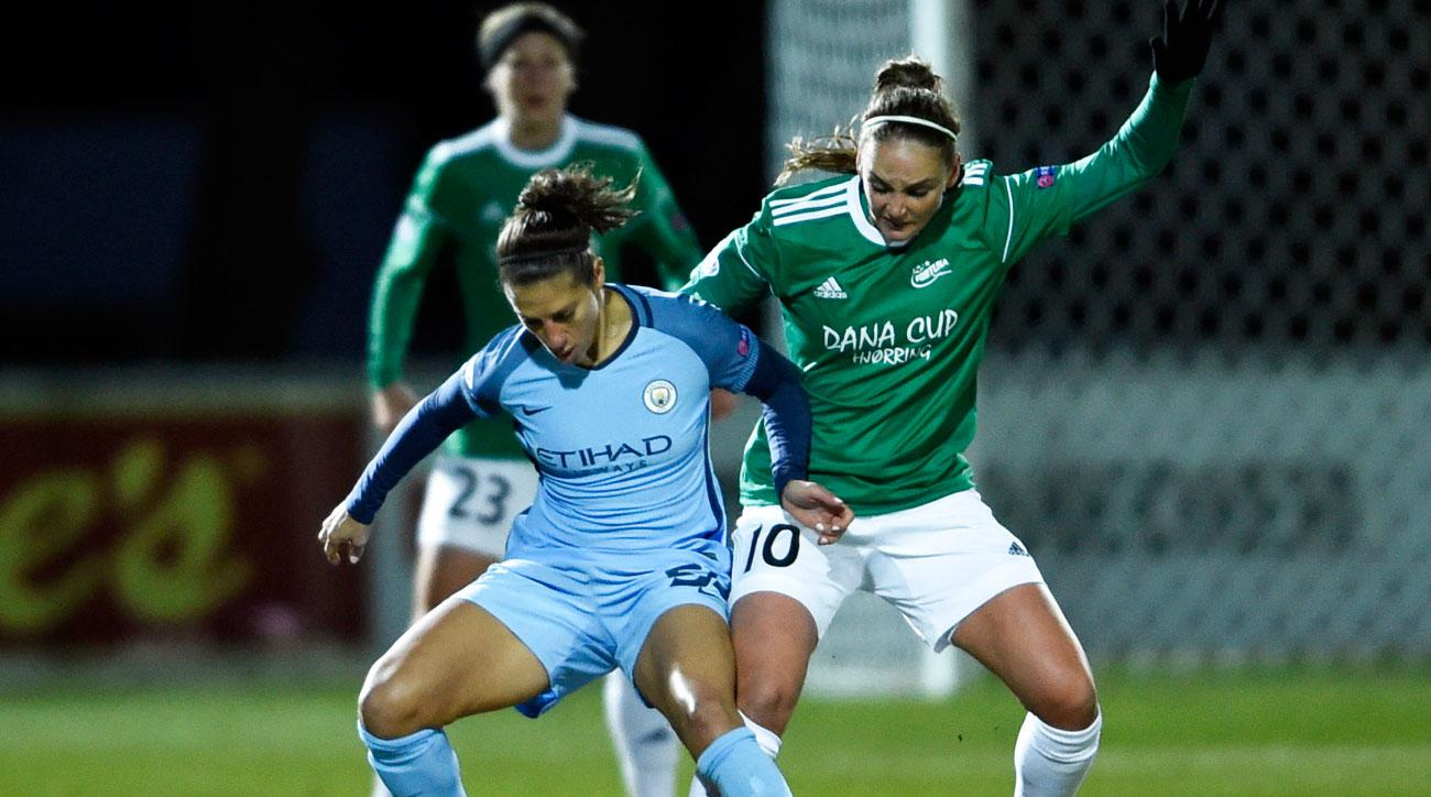Carli Lloyd scores for Manchester City in Women's Champions League