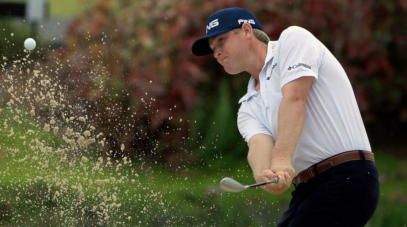 Trey Mullinax hits out of a bunker during the first round of the Puerto Rico Open.