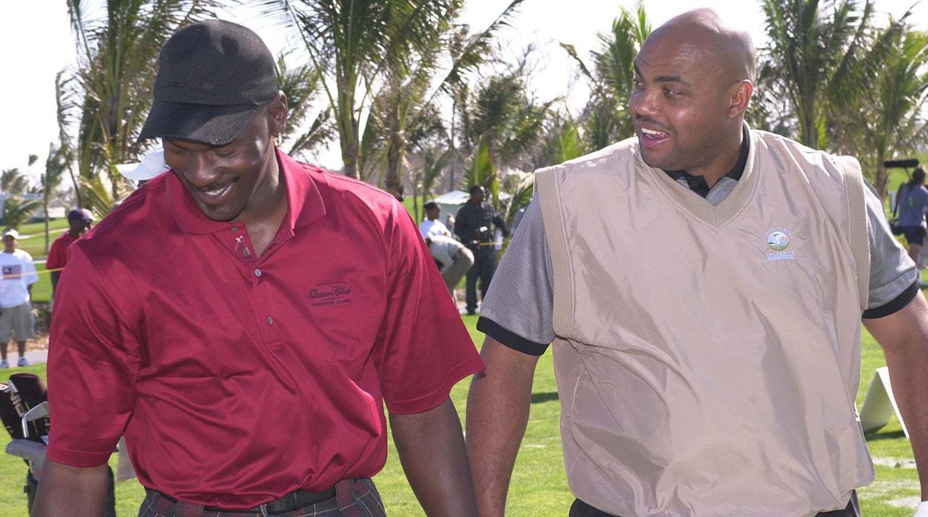 Michael Jordan & Charles Barkley during the 2001 Michael Jordan Celebrity Golf Invitational.