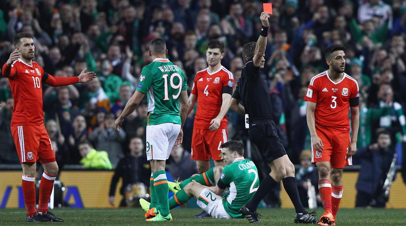 Seamus Coleman breaks his leg in Ireland's World Cup qualifier vs Wales