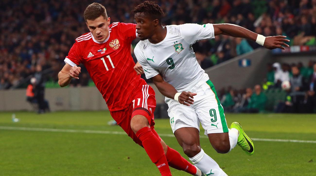 Wilfried Zaha scores for Ivory Coast vs. Russia