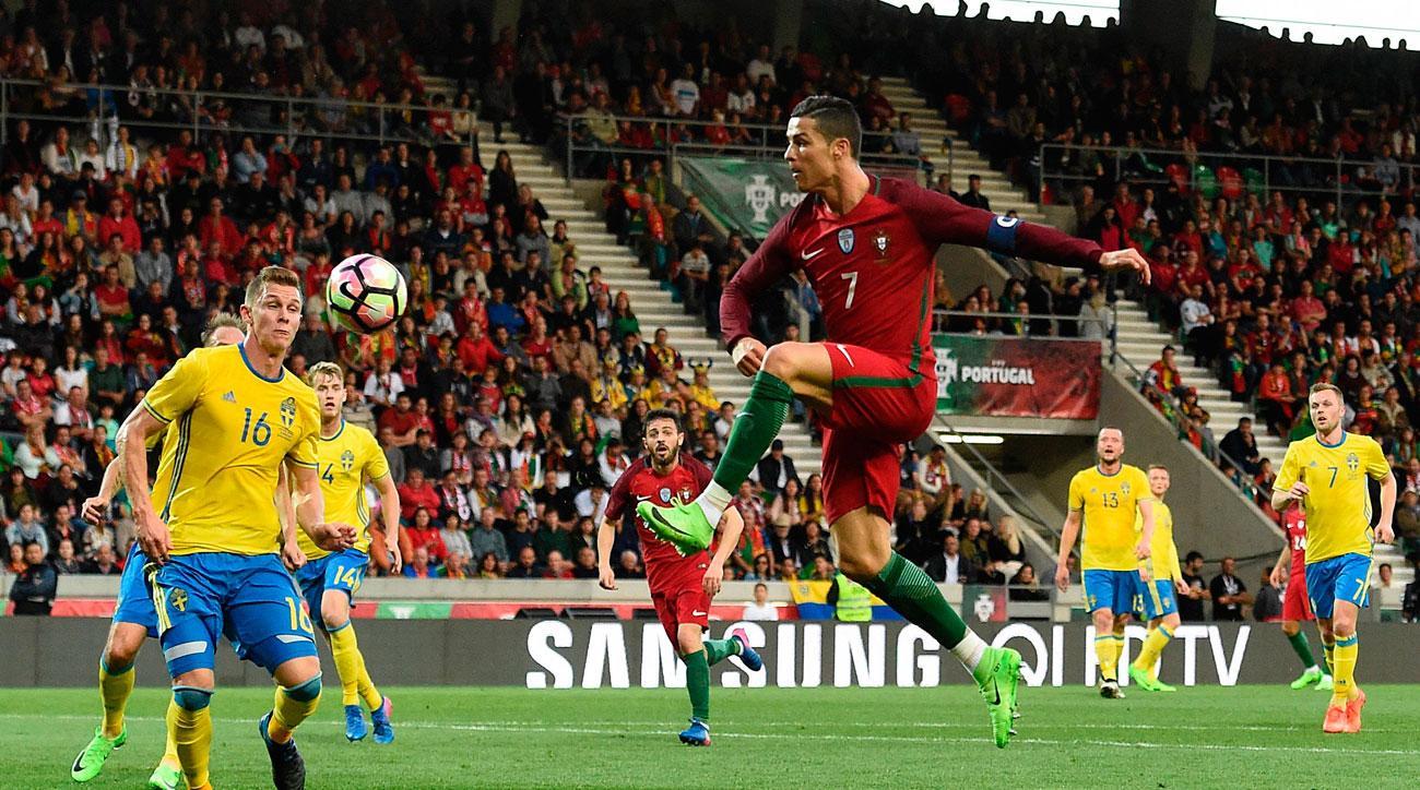 Cristiano Ronaldo scores for Portugal vs. Sweden