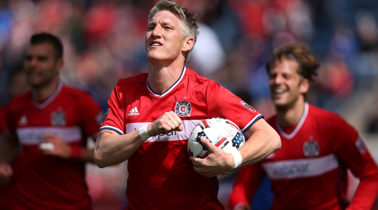 Bastian Schweinsteiger scores on his debut for the Chicago Fire