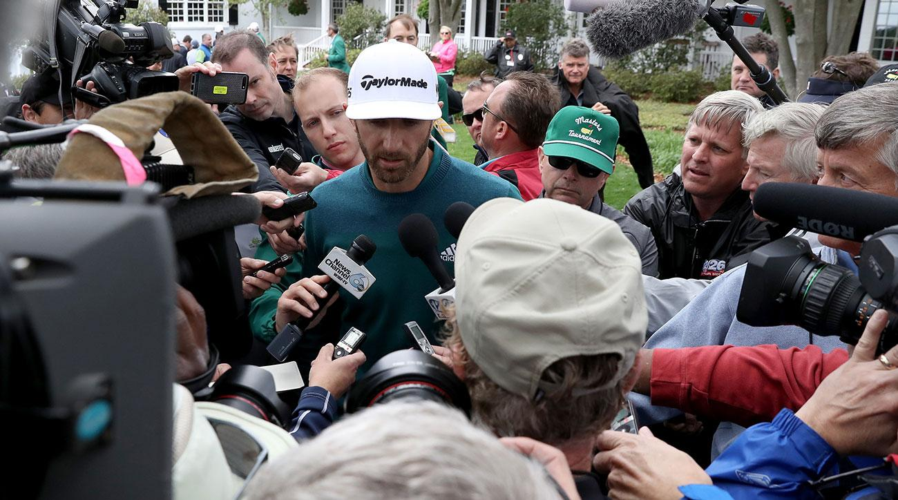 Dustin Johnson speaks to the media after withdrawing from the 2017 Masters with a back injury.