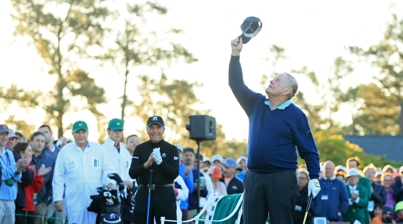 Jack Nicklaus honors his friend Arnold Palmer Thursday on the first tee at Augusta National.