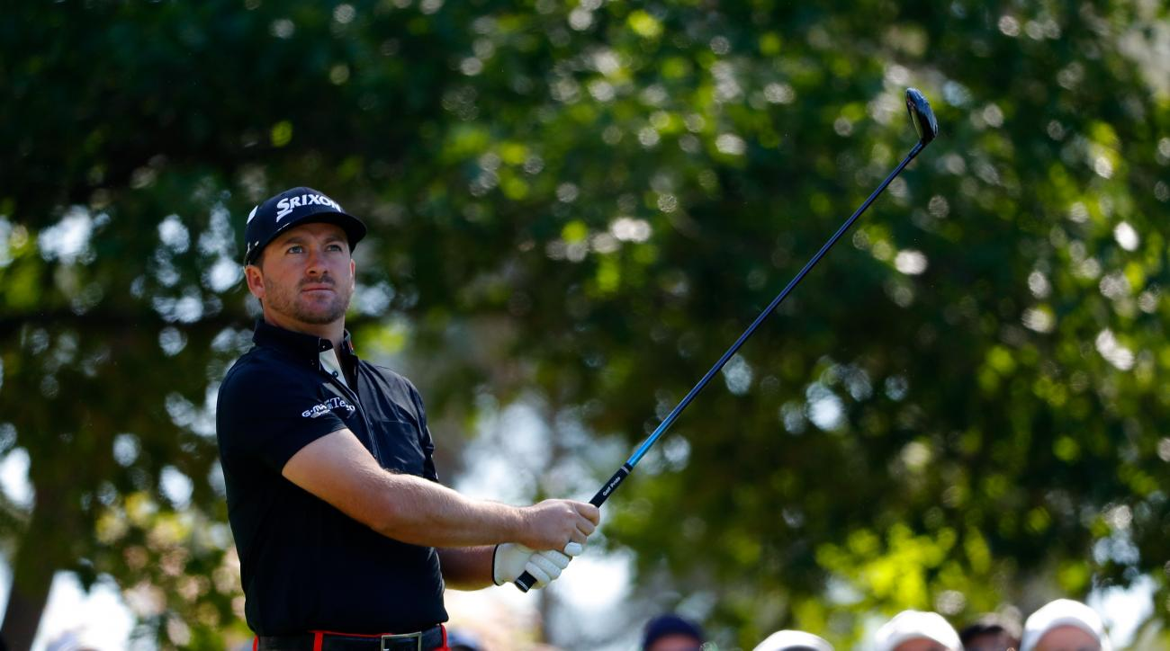 Graeme McDowell of Northern Ireland plays his shot from the fourth tee during the second round of the 2016 Masters Tournament.