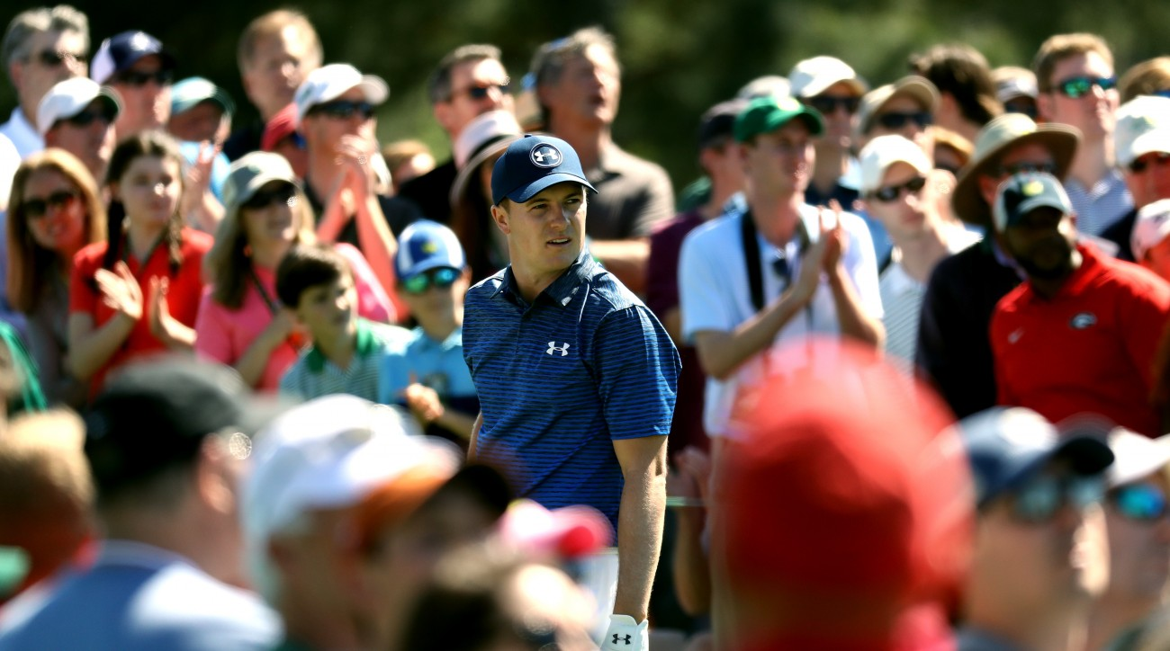 Jordan Spieth looks on from the eighth tee during the third round of the 2017 Masters.