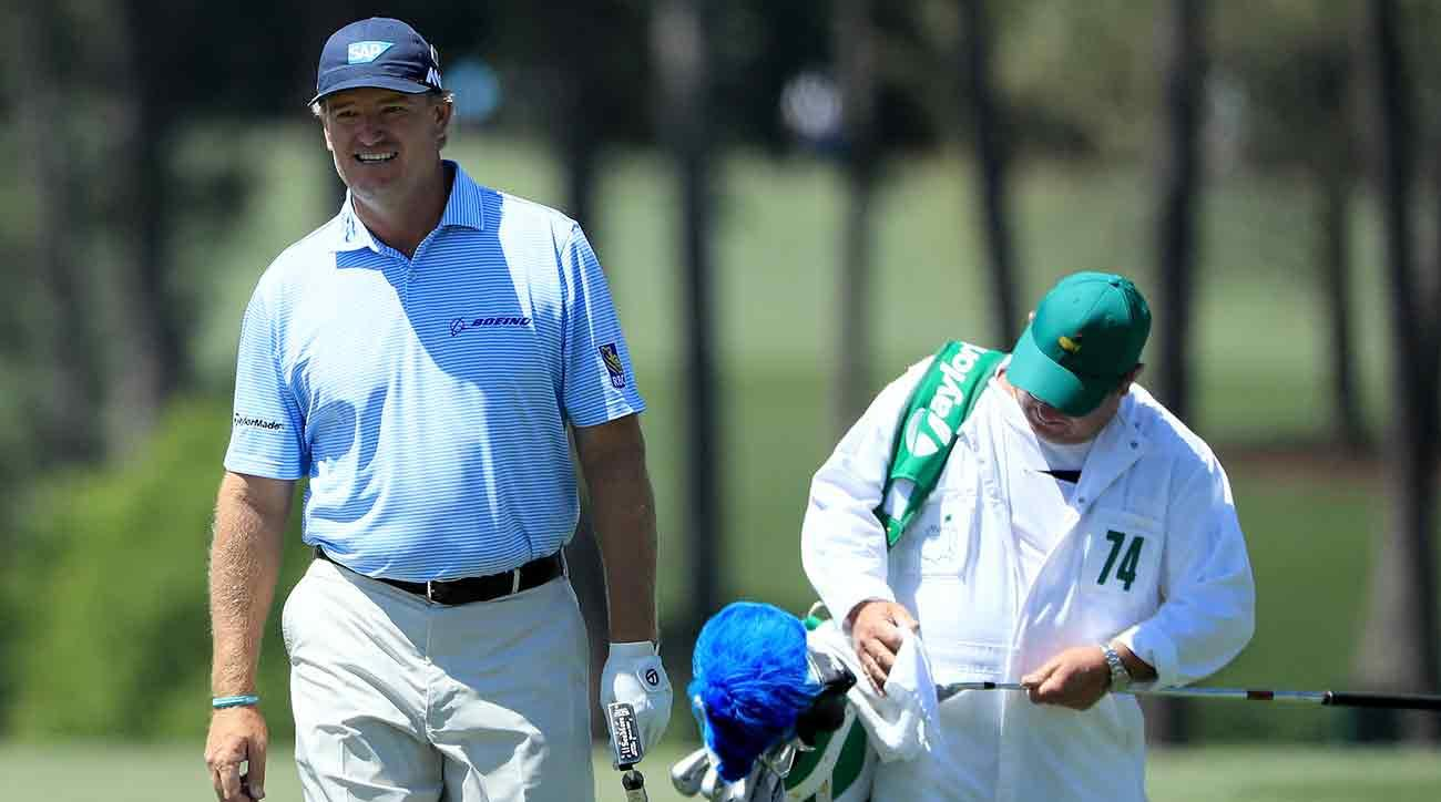 Ernie Els walks up the fairway on Sunday of the 2017 Masters.