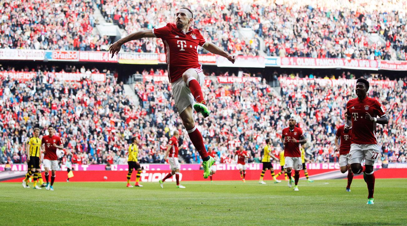Frank Ribery scores in Bayern Munich's rout of Borussia Dortmund