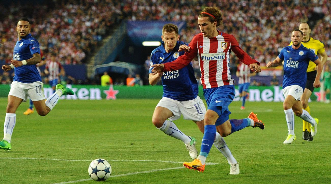 Antoine Griezmann scores for Atletico Madrid vs. leicester City
