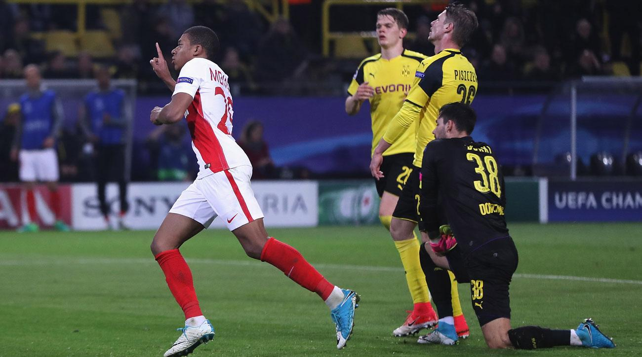 Kylian Mbappe scored twice for Monaco vs. Dortmund
