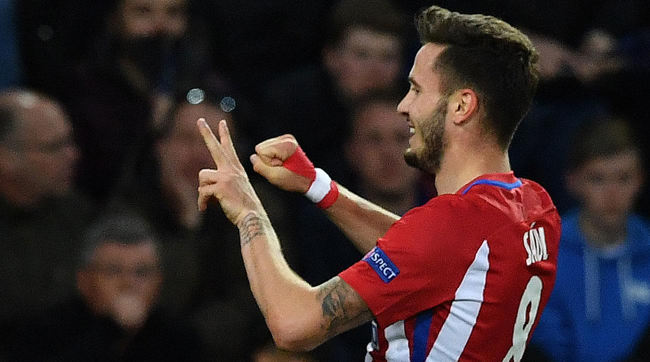 Saul Niguez scores for Atletico Madrid at Leicester City