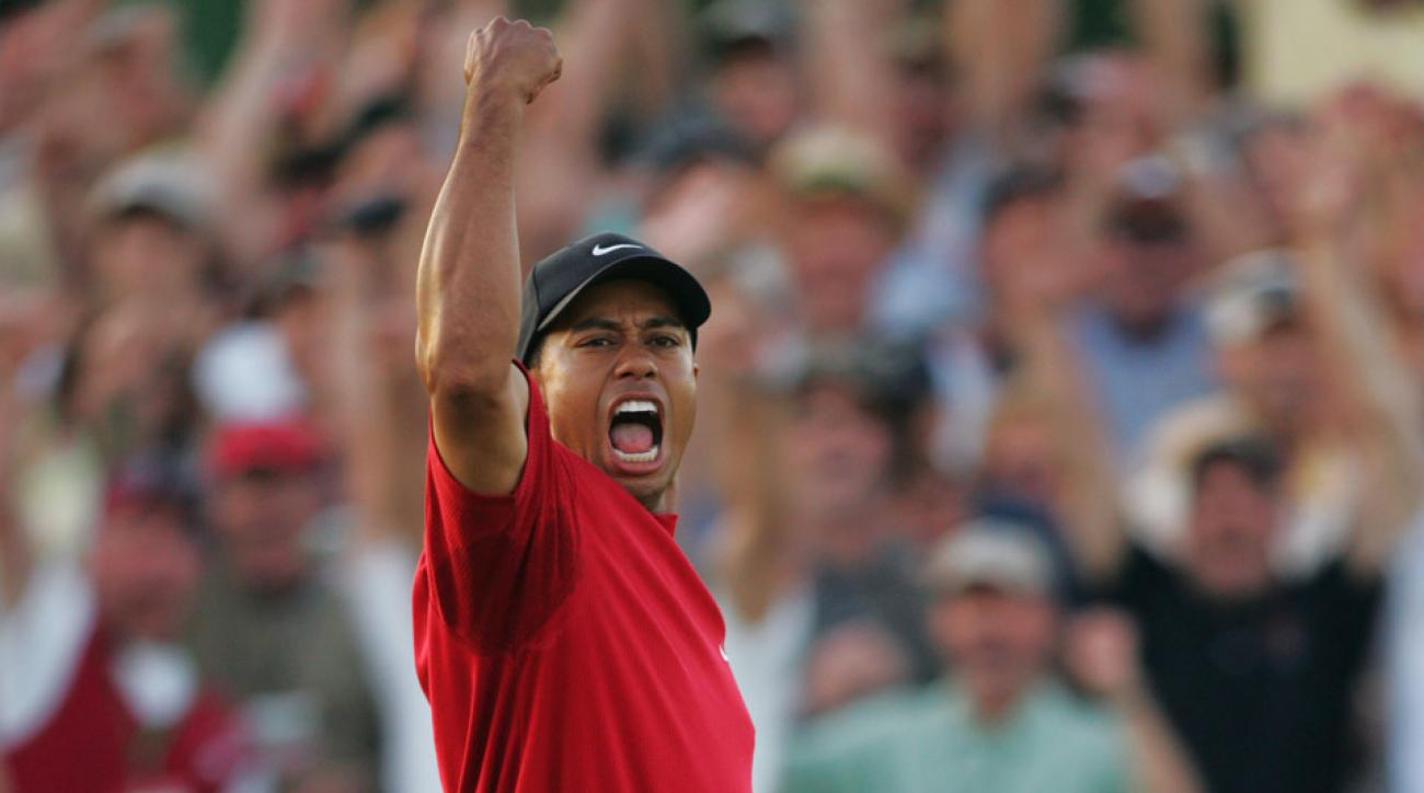 Tiger Woods celebrates his playoff win at the 2005 Masters.