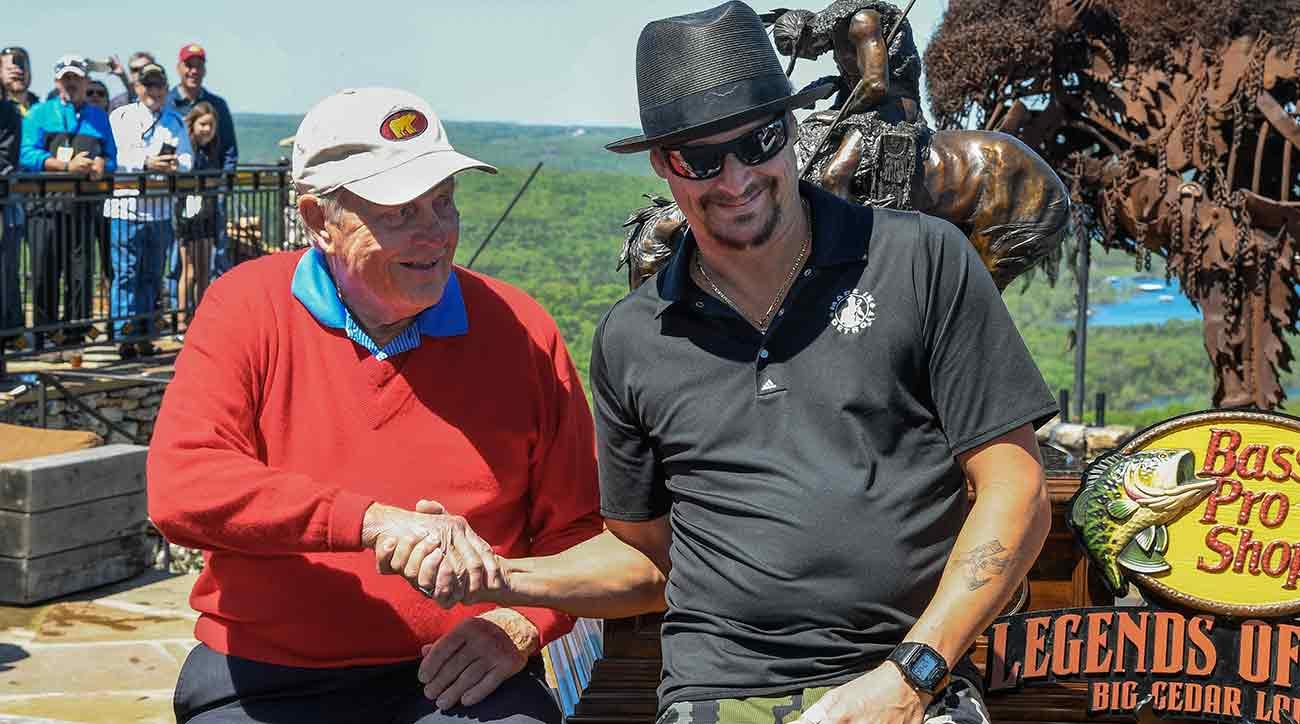 Jack Nicklaus shakes the hand of Kid Rock following the Legends of Golf Skins Shooutout during the PGA Tour Champions' Bass Pro Shops Legends of Golf event at Big Cedar Lodge on Sunday.