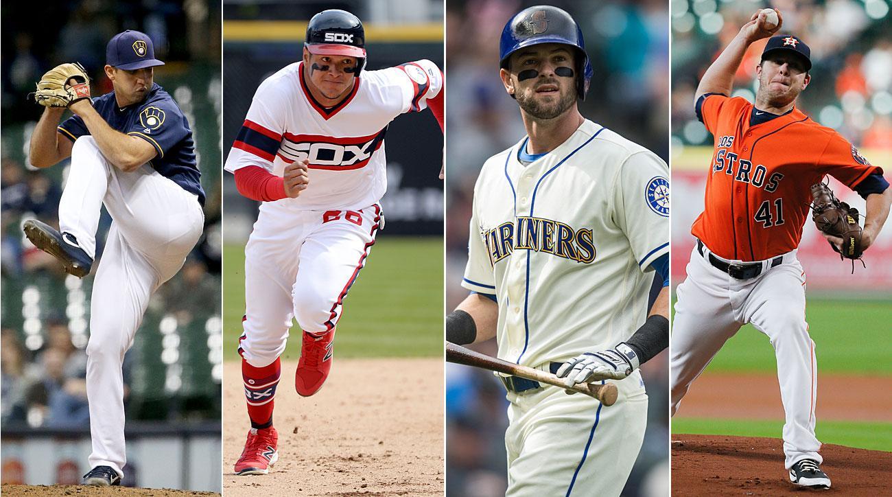 Jacob Barnes, Milwaukee Brewers; Avisail Garcia, Chicago White Sox; Mitch Haniger, Seattle Mariners; Brad Peacock, Houston Astros